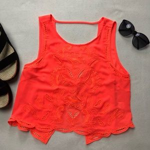 Lush Embroidered Crop Tank Bright Orange